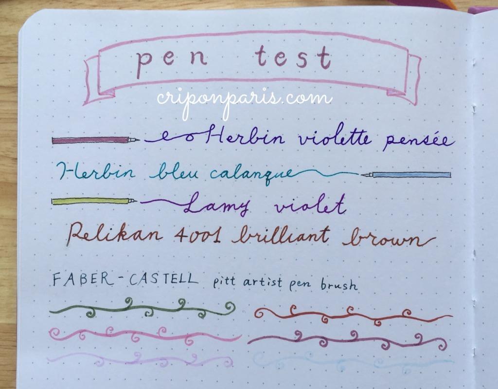 万年筆のインクテスト